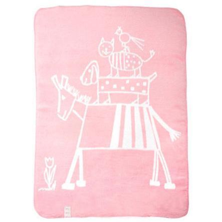 ALVI Couverture bébé avec bordures en point de chaîne motif Musiciens de Brême rose 75x100cm