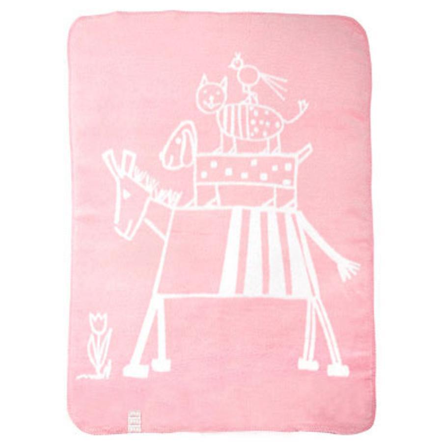 ALVI Katoenen Babydeken met afgewerkte rand design muziekanten roze