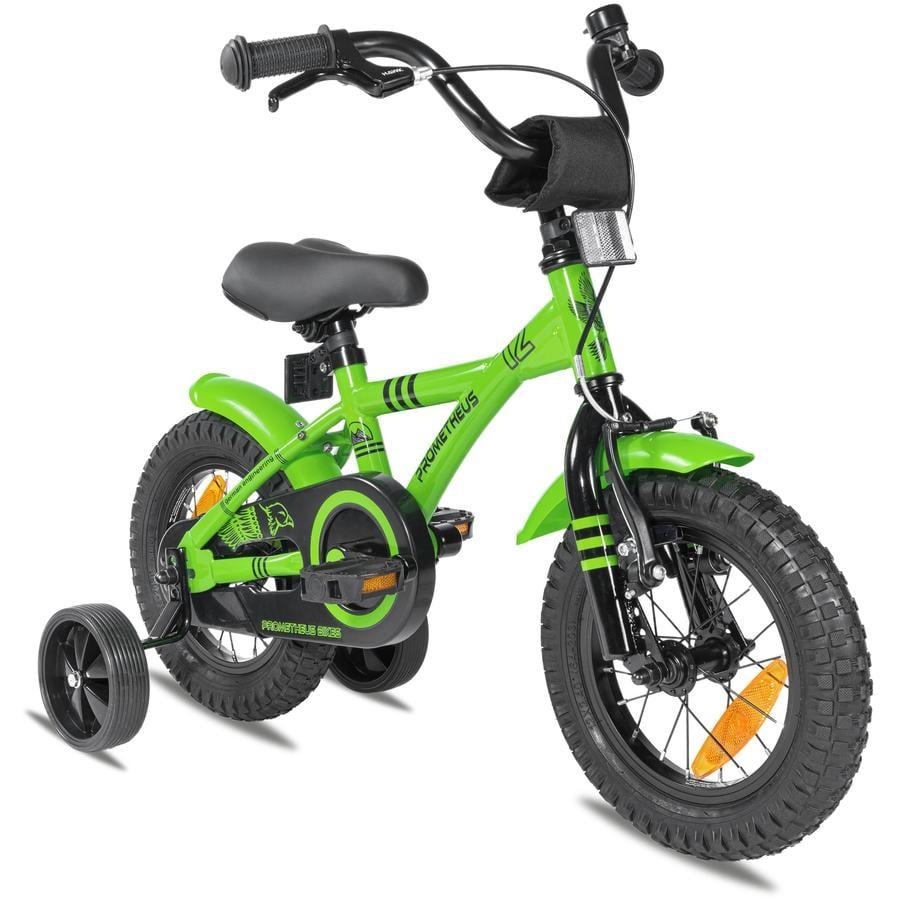 """PROMETHEUS BICYCLES® GREEN HAWK Kinderfahrrad 12"""" , Grün & Schwarz ab 3 Jahre  mit Stützräder"""