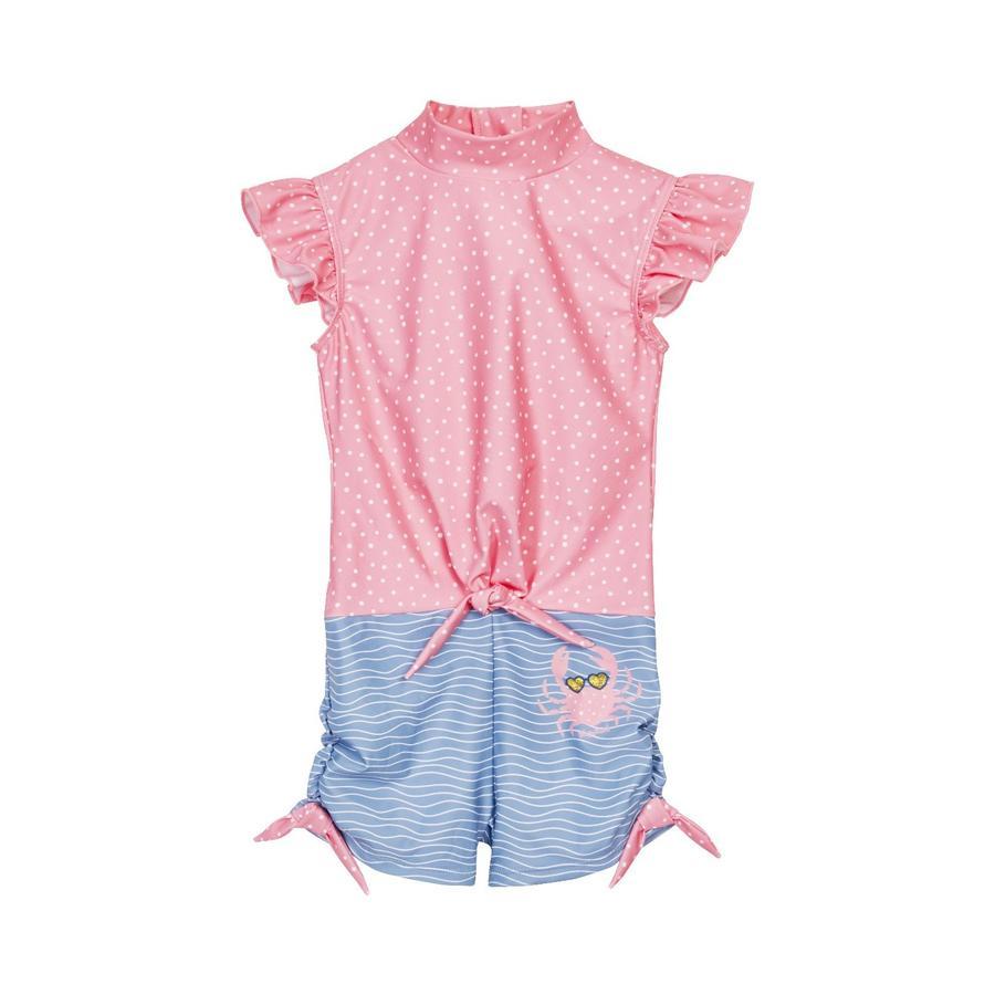 Playshoes  Jednodílný oblek s UV ochranou rakovina modro-růžový