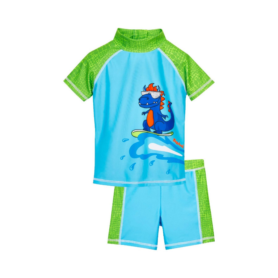 Playshoes  Set da bagno con protezione UV Dino blu-verde