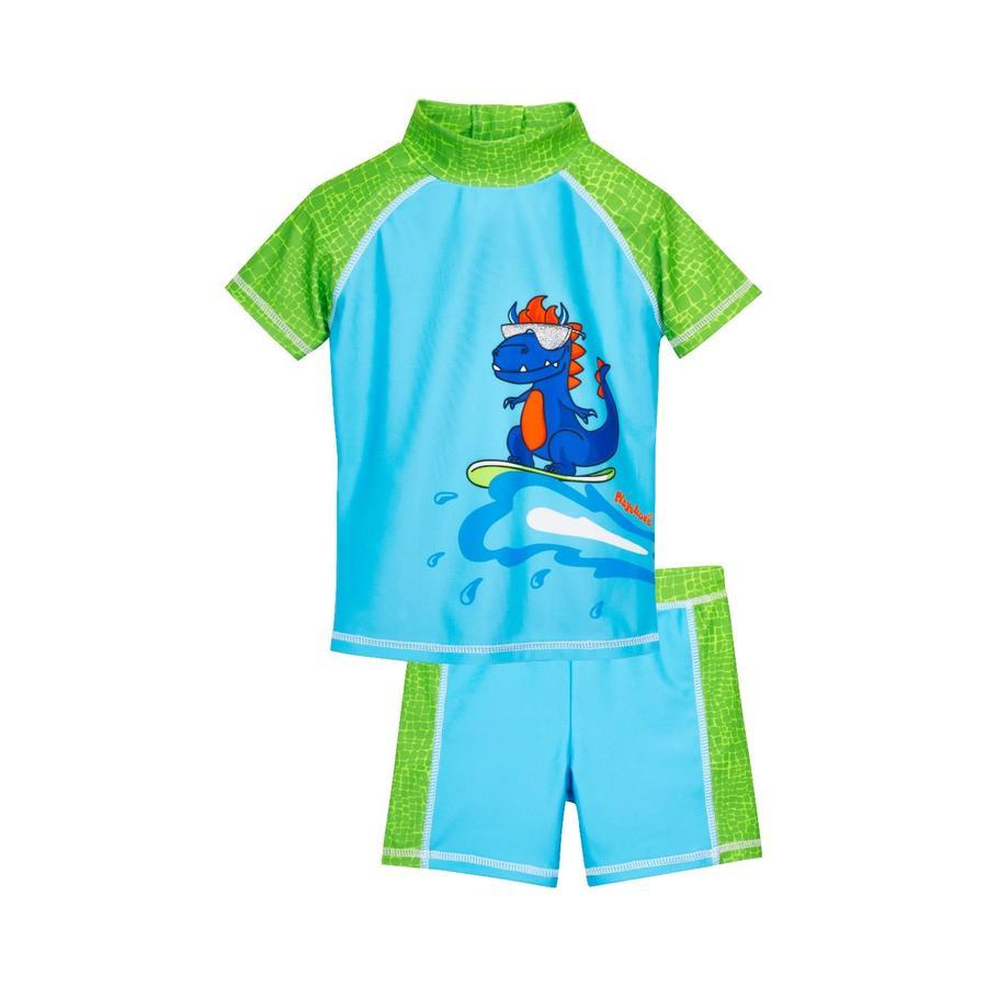 Playshoes  UV-beschermende badset Dino blauw-groen