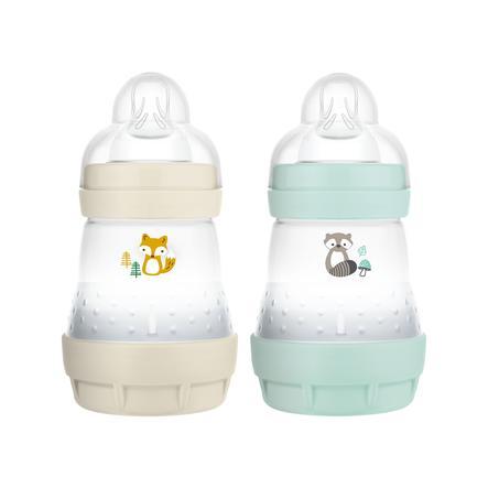 MAM Biberon Easy Start anti-coliques renard/raton laveur 160 ml beige/menthe lot de 2