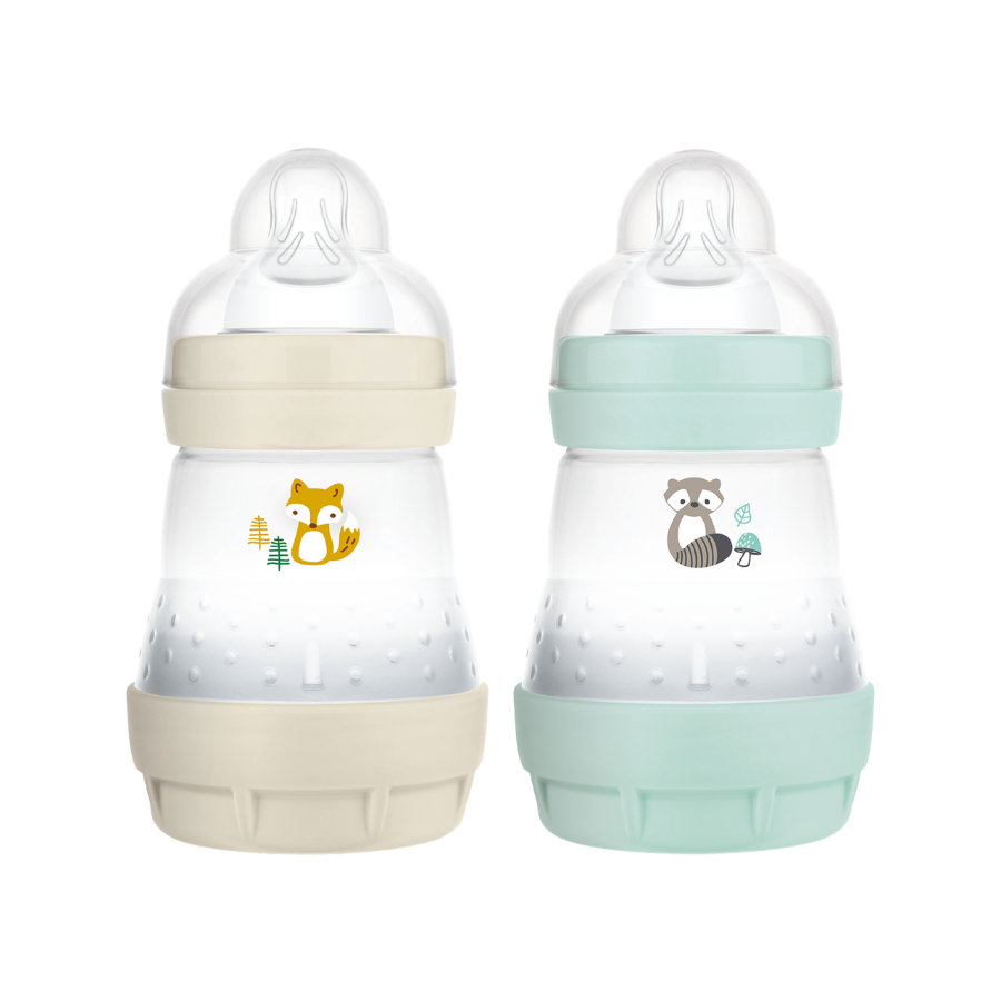 MAM Babyfles Easy Start Anti-koliek-Elementen 160 ml 2 stuks vos/konijn in beige/mint