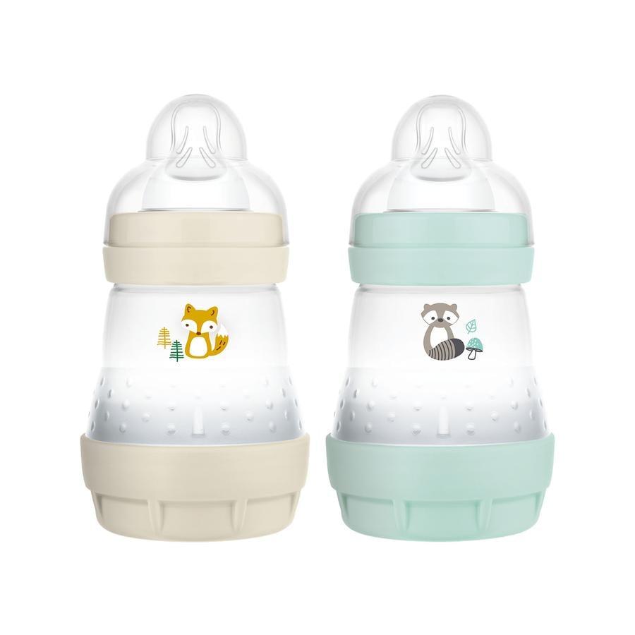 MAM Butelka dla niemowląt Easy Start Anti Colic-Elements 160 ml 2 sztuki lisek/kotek w kolorze beżowym/miętowym