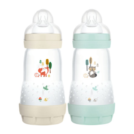 MAM Babyflasche Easy Start Anti Colic-Elements 260 ml 2 Stück Fuchs/Waschbär in beige/mint