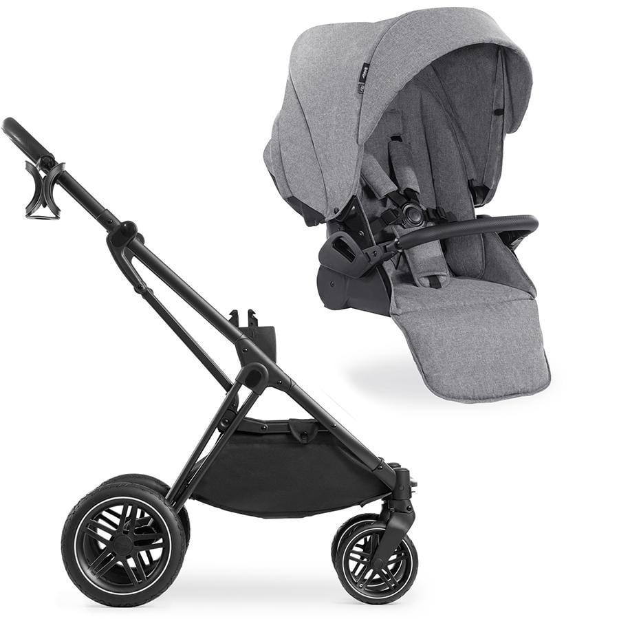hauck Kinderwagen Vision X Black mit Sportwagenaufsatz Melange Grey