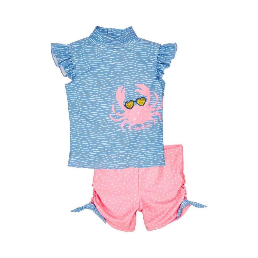 Playshoes  Set de baño con protección UV cangrejo azul-rosa