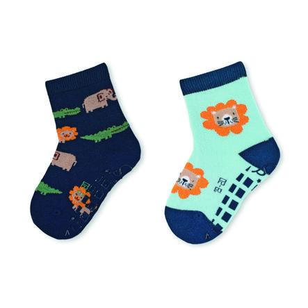Sterntaler ABS sokken dubbelpak dierentuindieren marine
