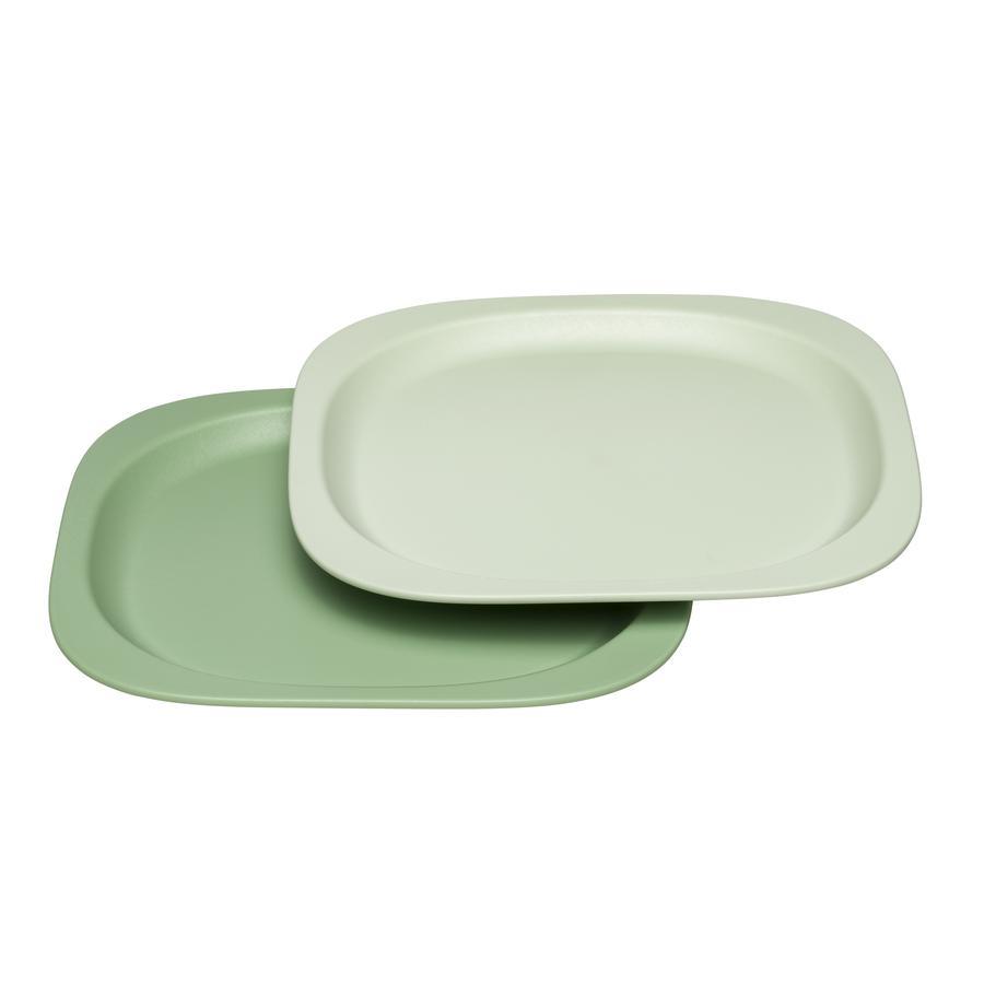nip Kinderteller eat green in grün/hellgrün
