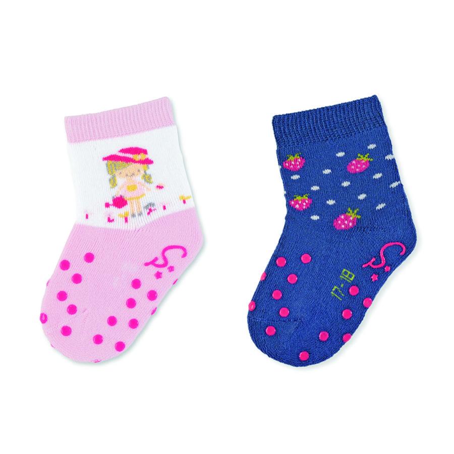 Sterntaler ABS krypende sokker dobbel pakke jenter rosa
