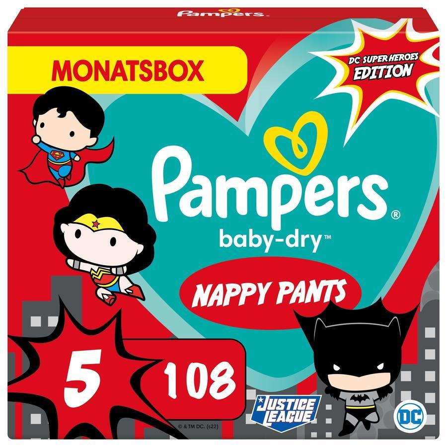Pampers Baby-Dry Pants, størrelse 5 Junio ??Warner Brothers, 12-17 kg, månedlig eske (1 x 108 bleier)