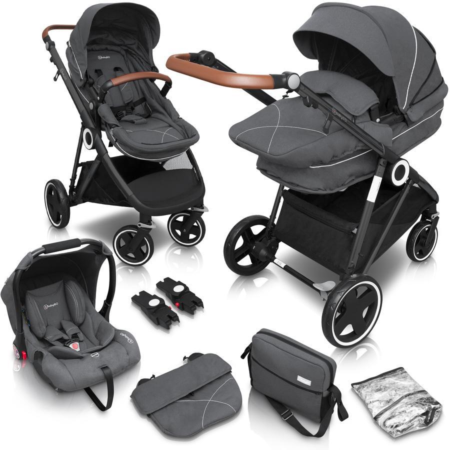 babyGO  Wózek spacerowy Halime 3 w 1 Grey Black