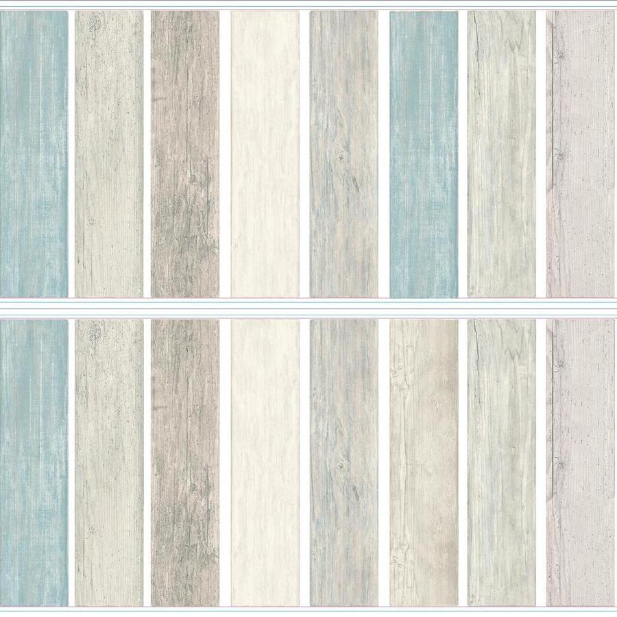 RoomMates ® -seinätarra Vintage puiset lattialaudat näyttävät sinisiltä