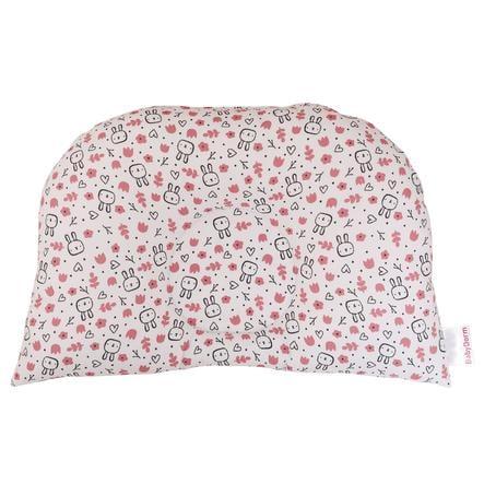 BabyDorm ® Poduszka do wózka BuggyDorm Hoppel biała z małymi króliczkami