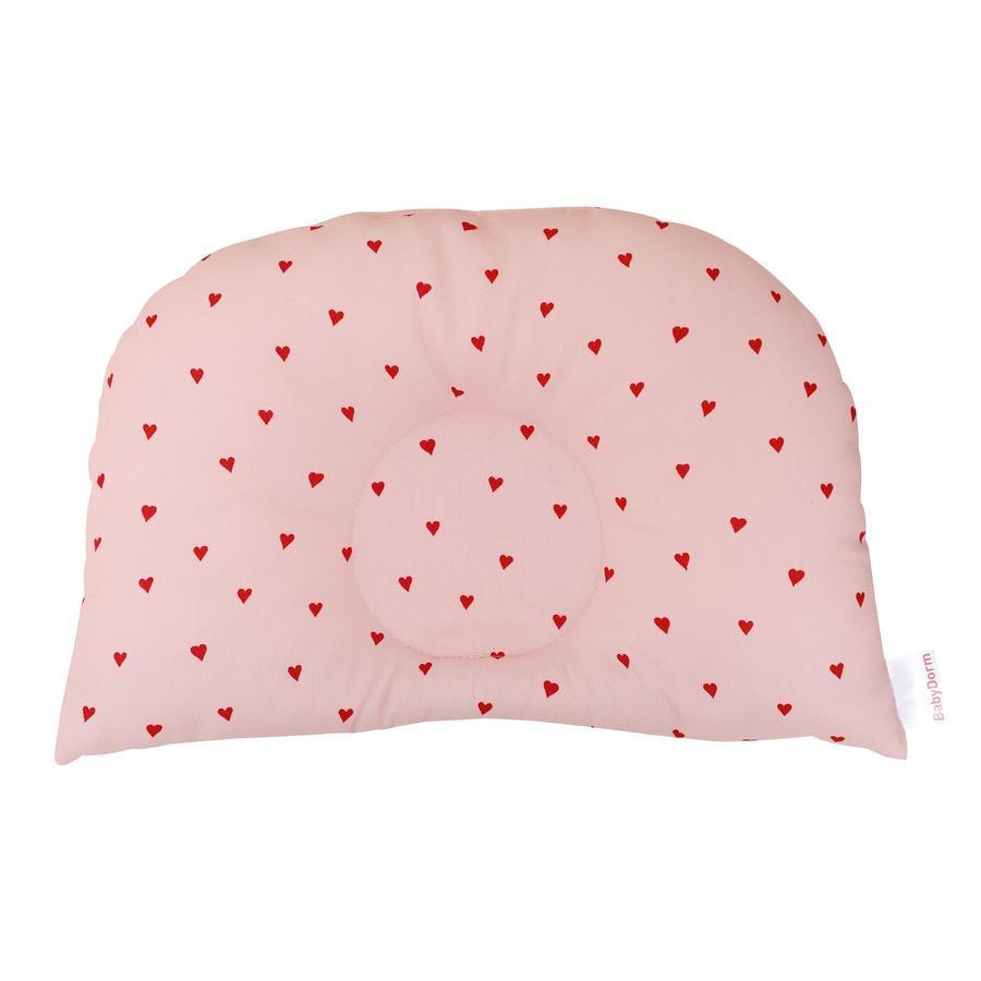 BabyDorm ® Poduszka do wózka BuggyDorm Rosalie różowa z czerwonymi serduszkami