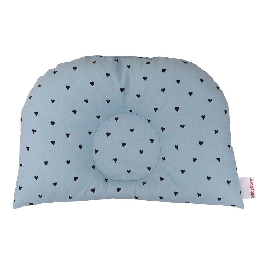 BabyDorm® Coussin pour poussette BuggyDorm Paulchen bleu clair coeurs bleus