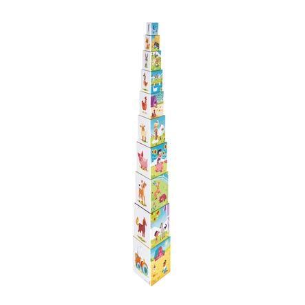 "Janod ® Pila pyramide Triángulo ""Granja"" (contenido 10 elementos)"