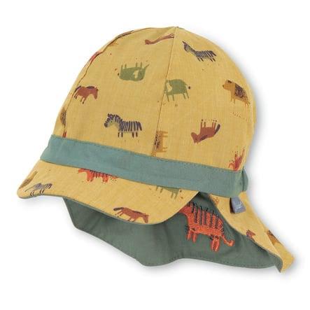 Sterntaler Odwracalna czapka z daszkiem i ochroną karku żółta