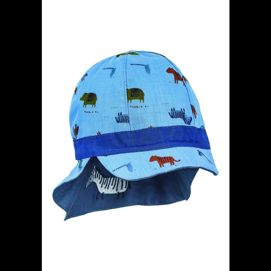 Sterntaler Wende-Schirmmütze mit Nackenschutz blau