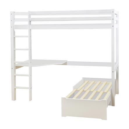 Hoppekids Podkrovní postel Basic Mega s obývacím modulem a psacím stolem bílá