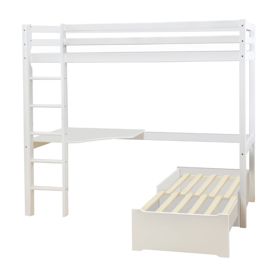 Hoppekids Lit mezzanine enfant Basic Mega module lounge, bureau blanc 90x200 cm