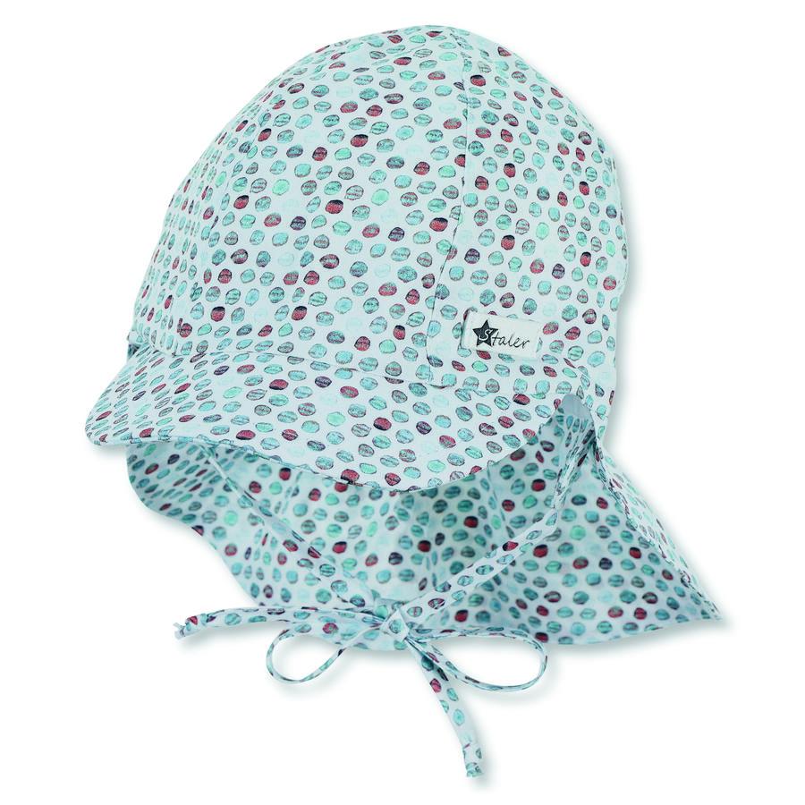 Sterntaler Organiczna czapka z daszkiem i ochroną szyi jasny turkus