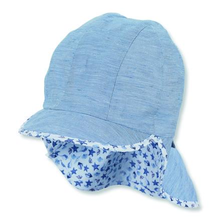 Sterntaler Organická kšiltovka s ochranou krku světle modrá