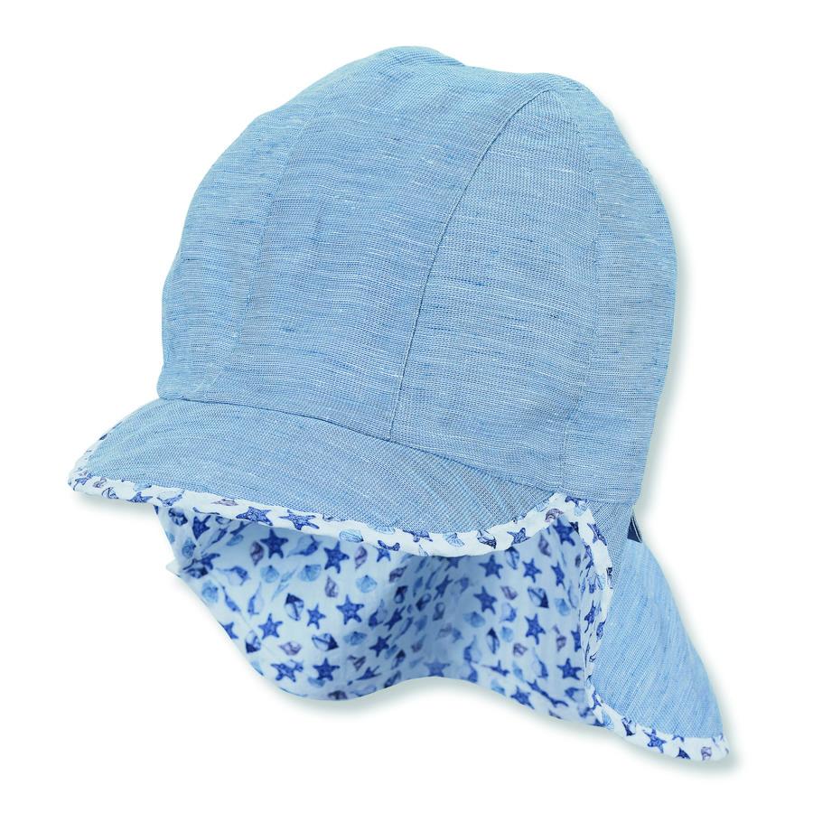 Sterntaler Gorra orgánica con protección para el cuello azul claro