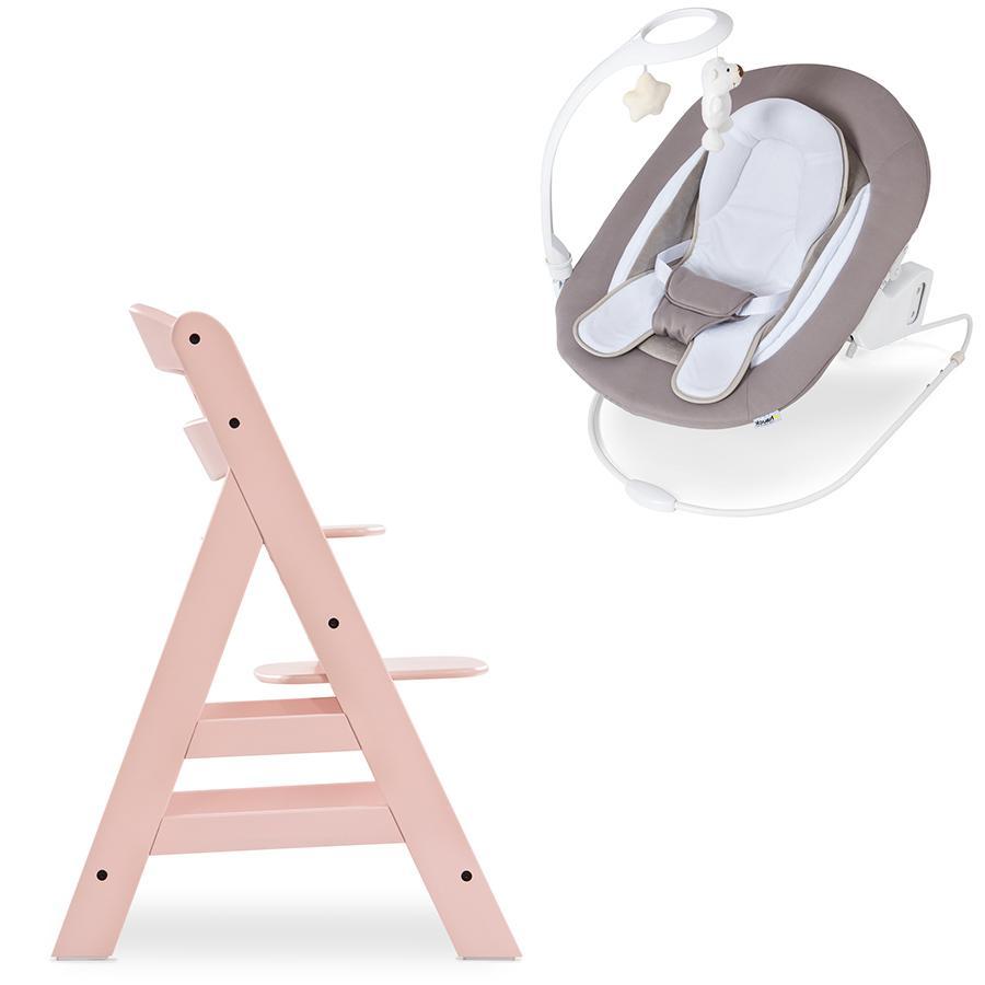 hauck Vysoká židle Alpha Plus Rose včetně Bouncer Deluxe Sand