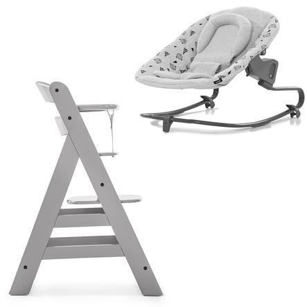 hauck Chaise haute enfant évolutive Alpha Plus bois grey transat Premium Nordic Grey