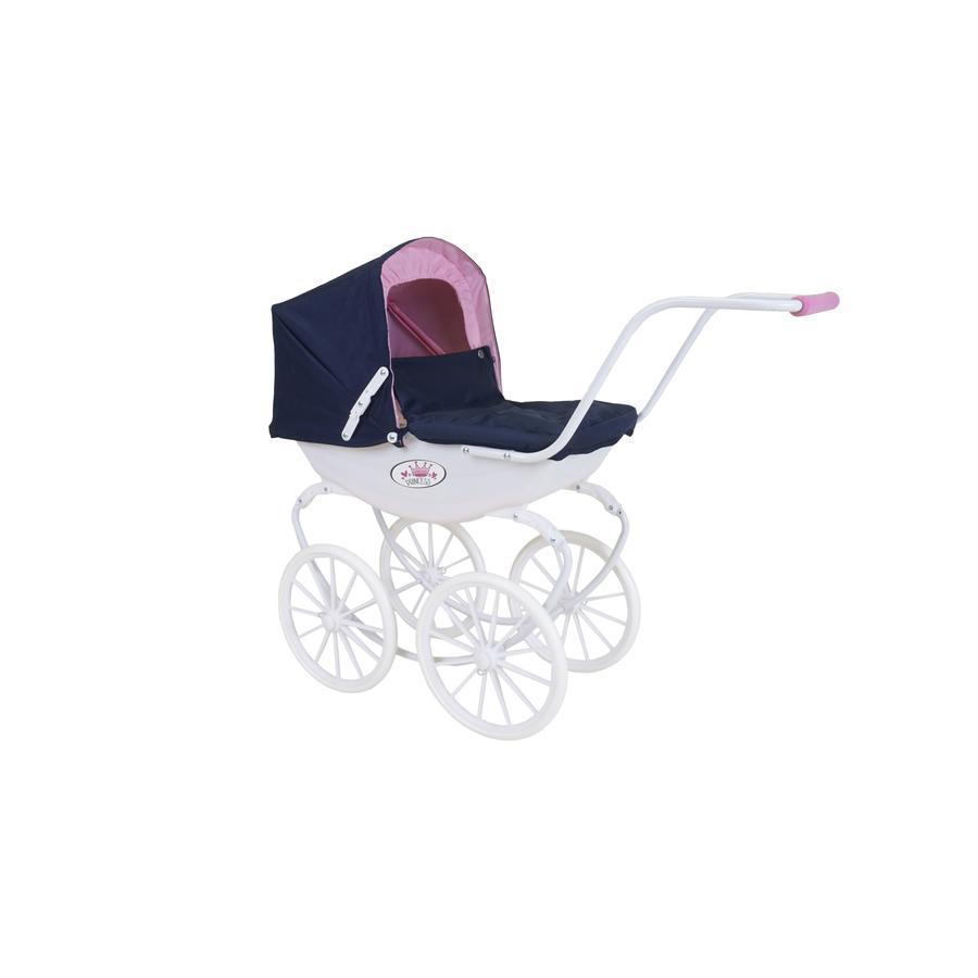 knorr® toys Puppenwagen Classic pram navy/weiß