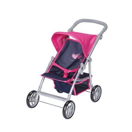 knorr® toys kočárek pro panenky Liba flying heart s navy/pink