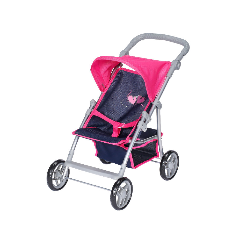 knorr® toys Puppenbuggy Liba flying hearts navy/pink