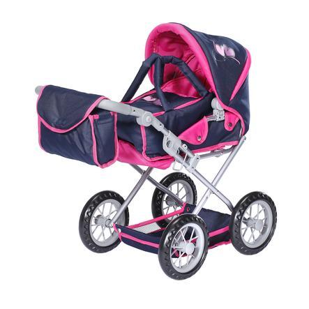 knorr® speelgoed poppenwagen Ruby flying heart s navy/roze