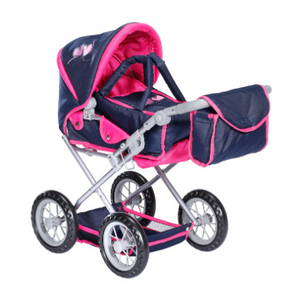 knorr® toys Puppenwagen Ruby flying hearts navy/pink