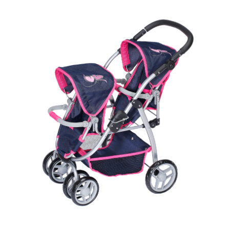 knorr® toys Zwillingspuppenwagen Milo flying hearts navy/pink