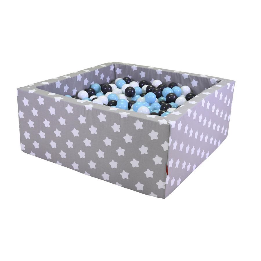 knorr® toys Bällebad soft eckig - Grey white stars inklusive 100 Bälle creme/grey/lightblue