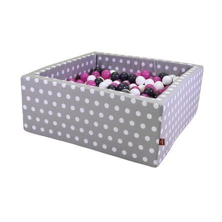 knorr® toys Bällebad soft eckig - Grey white dots inklusive 100 Bälle creme/grey/pink