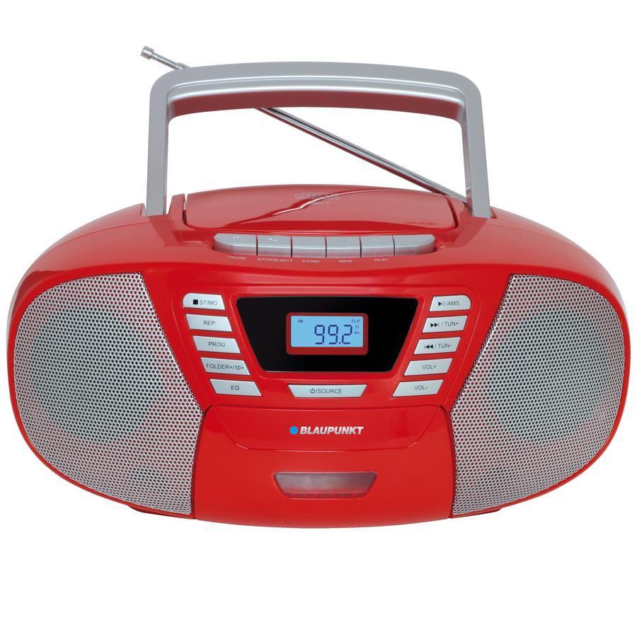 BLAUPUNKT Boombox mit CD + Kassette + USB + Bluetooth 4.2, rot