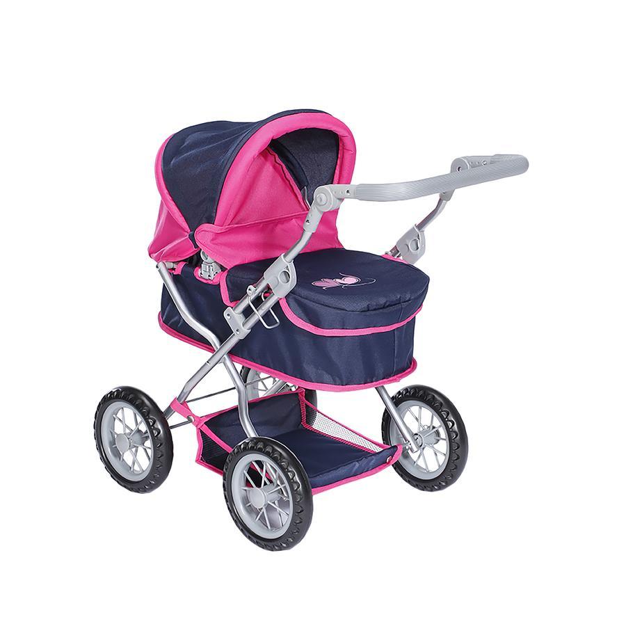kočárek pro panenky knorr® toys First flying heart s navy/pink