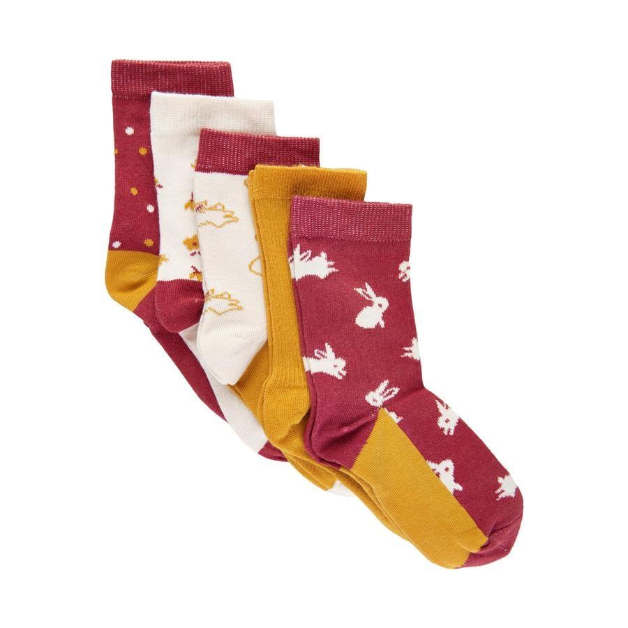 Minymo Socken 5er-Pack Muster Roan Rouge