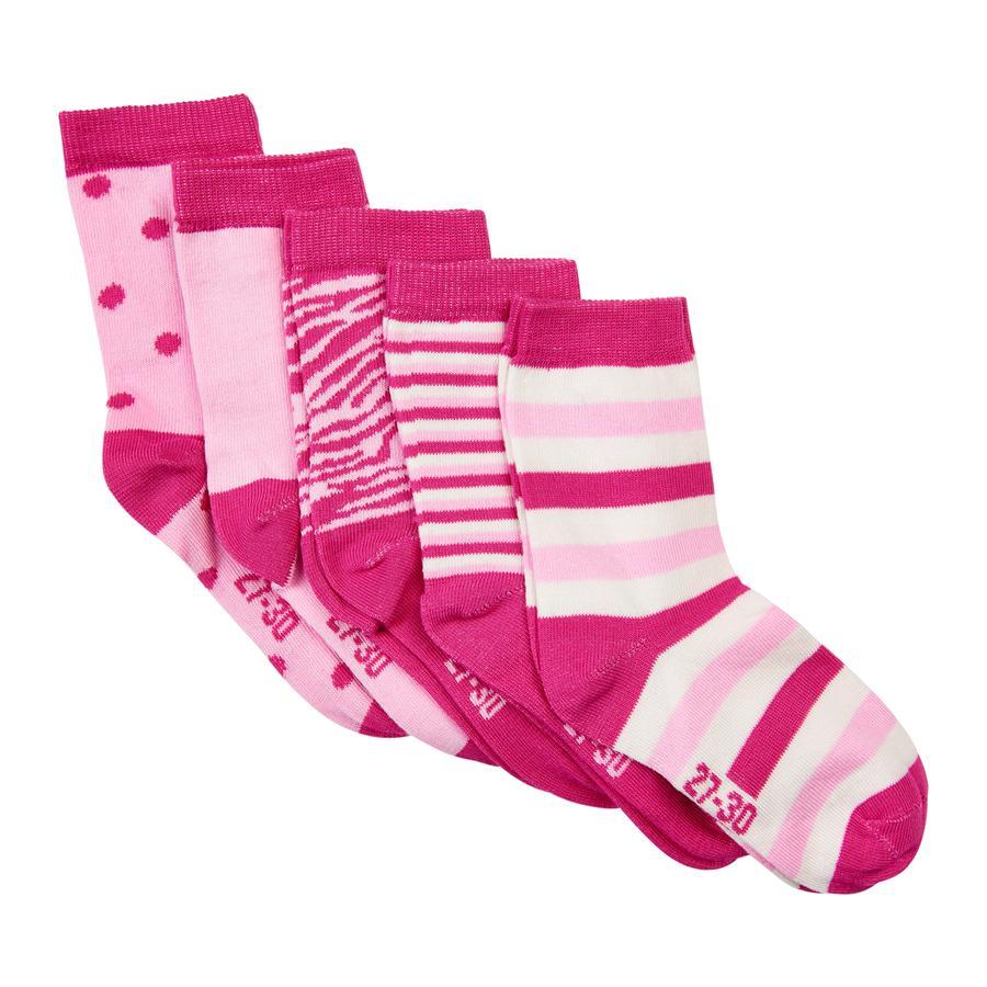 Minymo Socken 5er-Pack Muster Pink
