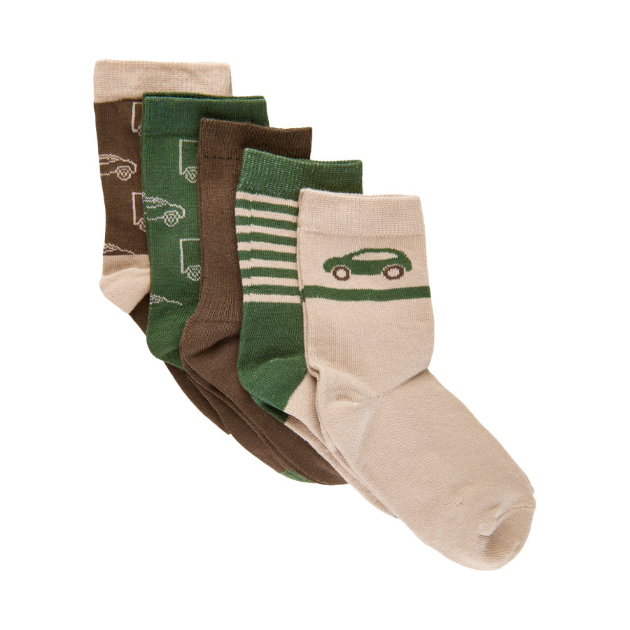 Minymo Socken 5er-Pack Muster Cocoa Brown