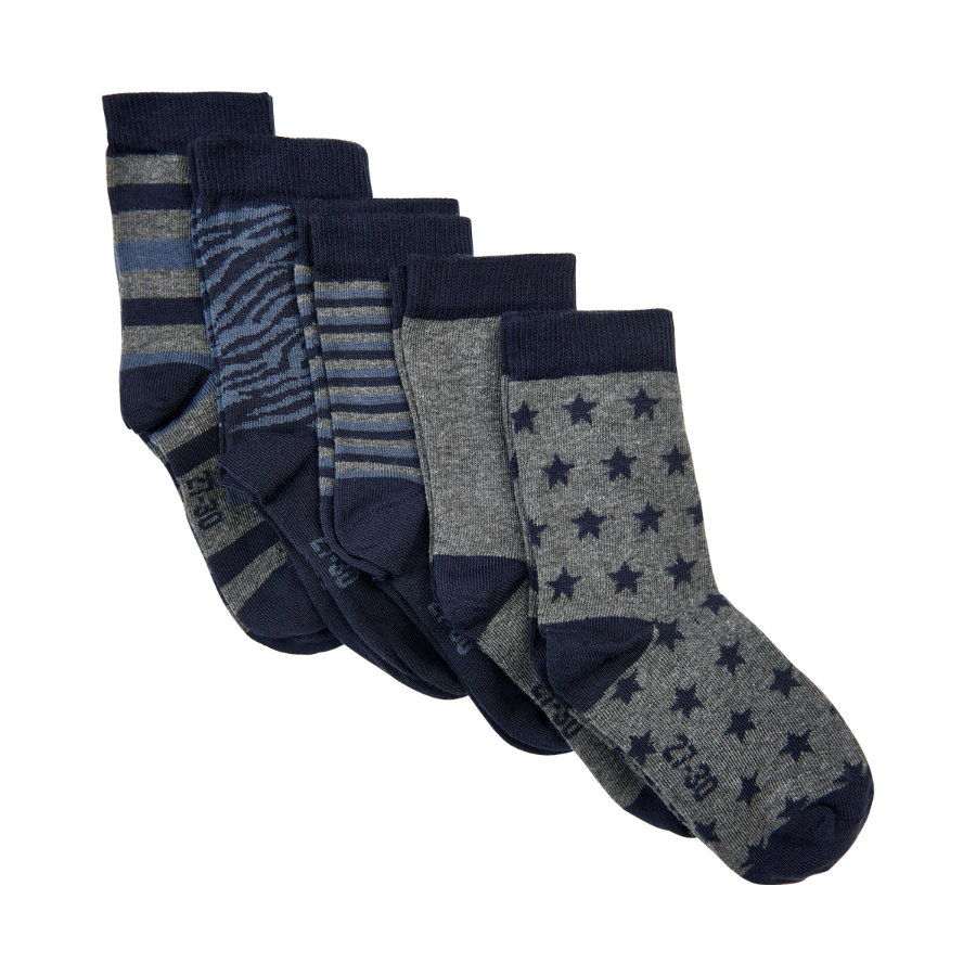 Minymo Lot de 5 chaussettes à motifs gris clair