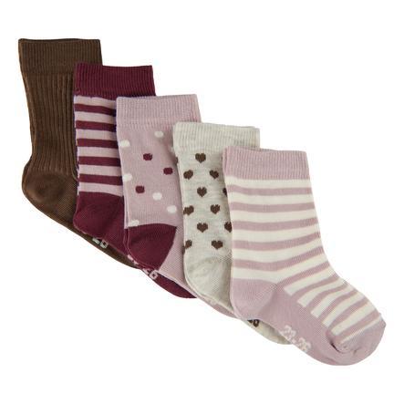 Minymo Socken 5er-Pack Muster Rose Smoke