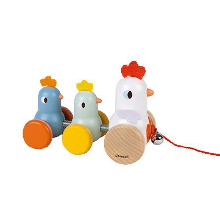 """Janod ® """"Familia de pollos"""" animal de tracción"""