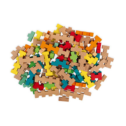 Janod ® Zestaw konstrukcyjny 100 drewnianych elementów