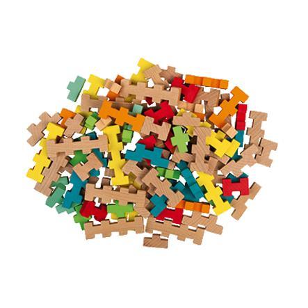 Janod ® Zestaw konstrukcyjny 60 części drewnianych