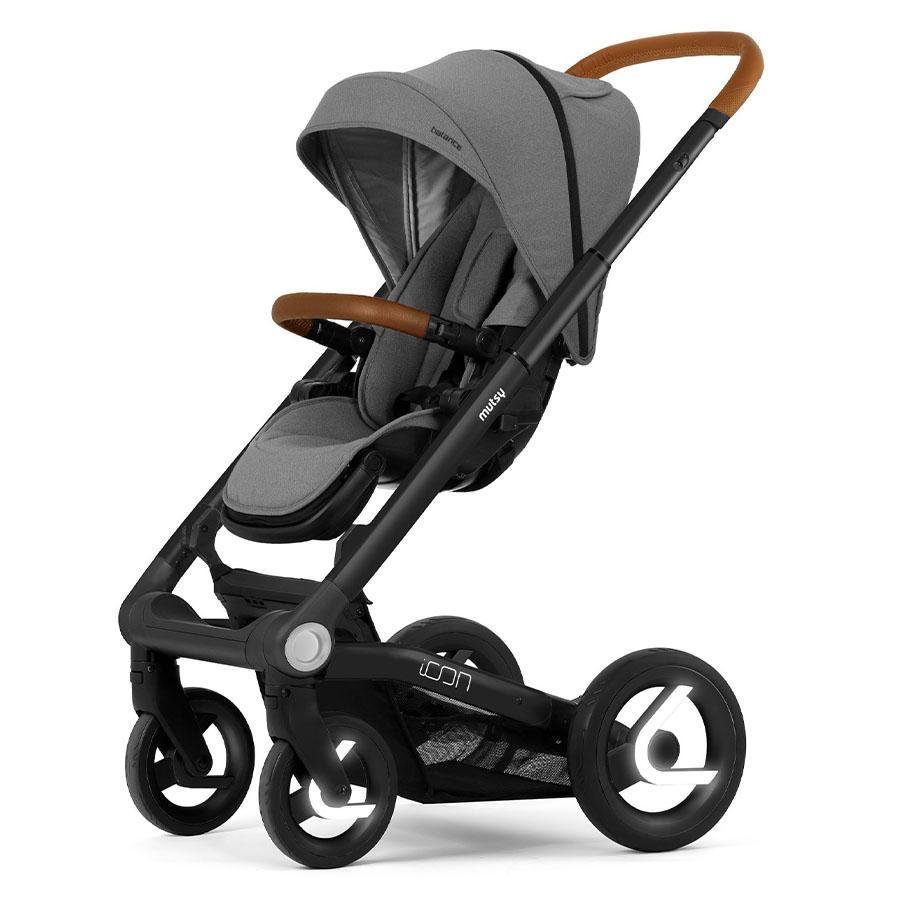 mutsy Kinderwagen Icon Rahmen Black inklusive Sitz und Verdeck Balance Granite